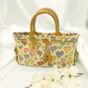Dooney Bourke Canvas Crayon Hearts Tote